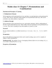 Permutations and combination notes for class 11 maths Chapter 7.pdf