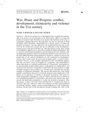 War, peace and progress- conflict, development, (in)security and violence in the 21st century