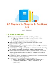 AP Physics 1- Chapter 1, Sections 1-5.docx