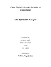 Case Study in Human Behavior in Organization
