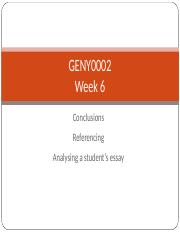 GENY0002 2016 Week 6 skills - Conclusions + referencing + essay analysis.ppt