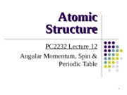 PC2232-2013-L12 Angular Momentum & Periodic Table