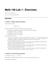 Math 149 Lab 1 Exercises