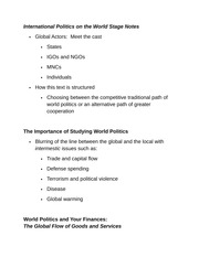 International Politics on the World Stage Notes
