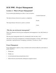 Lecture Two - What is Project Management-1