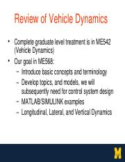 Lecture9-11 - (VehicleDynamics OurgoalinME568 Developtopics