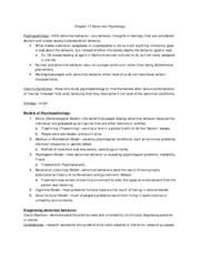 Psychology Note Chapter 11 Abnormal Psychology
