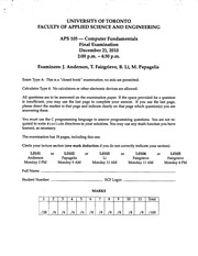 APS105 20109 Official Exam