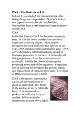 SPH 3U Class Notes DNA – The Molecule of Life