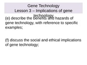 Genetics Lesson 3 - Implications of gene technology.