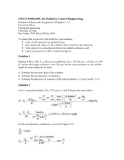 Homework 9 Solution on Air Pollution Control Engineering