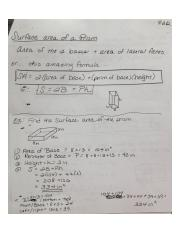 Geometry Surface Area Prism Notes