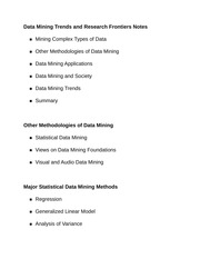 Data Mining Trends and Research Frontiers Notes