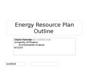 Energy Resource Plan Outline