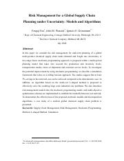 Risk Management for a Global Supply Chain Planning under Uncertainty Models and Algorithms