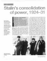 Stalin and consolidation of power 1924-31 by Geoffrey Swain