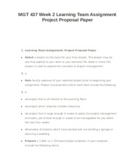 MGT 437 Week 2 Learning Team Assignment Project Proposal Paper