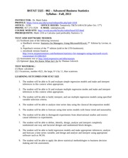BSTAT 5325-002 Syllabus - Fall, 2013 - Tuesday & Thursday night section