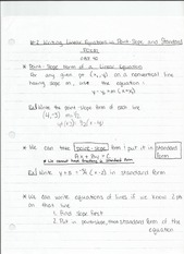 6-2 Writing Linear Equations in Point Slope and Standard Form Notes