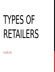 Class #3--Types of Retailers