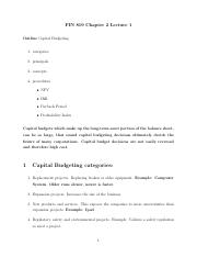 Lecture 1 - Chapter 2 - Capital Budgeting