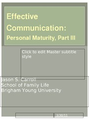 13. Effective Communication - Personal Maturity, Part III