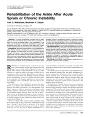 Rehab of the Ankle After Acute Sprain or Chronic Inj