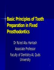 Basic Principles of Tooth Preparation in Fixed Prosthododntics students