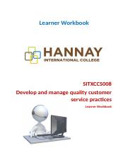 SITXCCS008 Develop and manage quality customer service.docx
