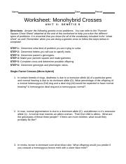 worksheet monohybrid crosses 2009 - Name Date Period Worksheet ...