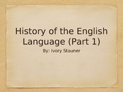 History of the English Langauge P1 PPT