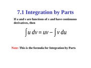 7.1 Integration by Parts