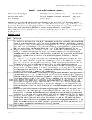 Tipton, D. Obs 12 Running record and summary
