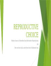 REPRODUCTIVE CHOICE