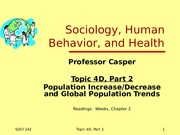 Topic 4D, Part 2 Population Increase and Decrease
