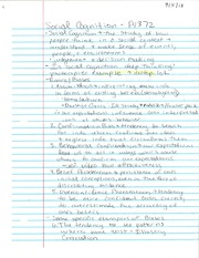 PY 372 Social Cognition Notes
