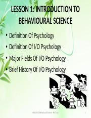 Lesson 1- Introduction to Behavioural Science