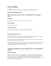 1-COMD 3100, Fundamentals of Anatomy for Speech and Language