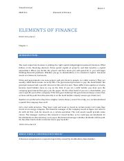 Elements of Finance (1)