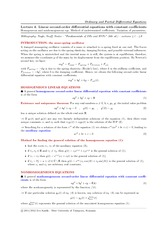 Lecture 4 on Linear second-order differential equations with constant coefficients.