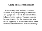 Aging and Mental Health Fall 2011