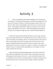Activity 3 Phremology