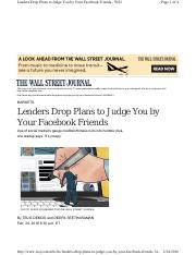 WSJ Article re Lenders and Facebook.pdf
