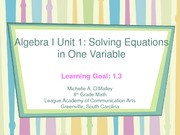 2008-2009 Algebra I PowerPoint3  Unit 1.3