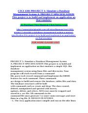 CSCI 1301 PROJECT 1 Simulate a Database Management System A. PROJECT SPECIFICATION This project is t