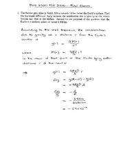 Final Exam Solution Spring 2006 on Physics 1 Honors with Mechanics