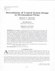 Abernethy, M., J. Bouwens, and L. van Lent, 2004, Determinants of control system design in business