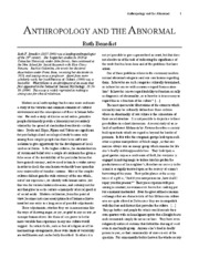 Anthropology and the Abnormal by Ruth Benedict
