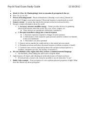 Psych Final Exam Study Guide