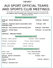 AUI Sport official teams try out & club sports  meetings  fall  2017.docx